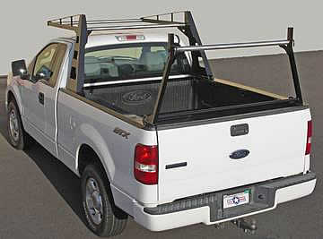 The Atlas pickup truck rack has optional stainless steel crossbars.